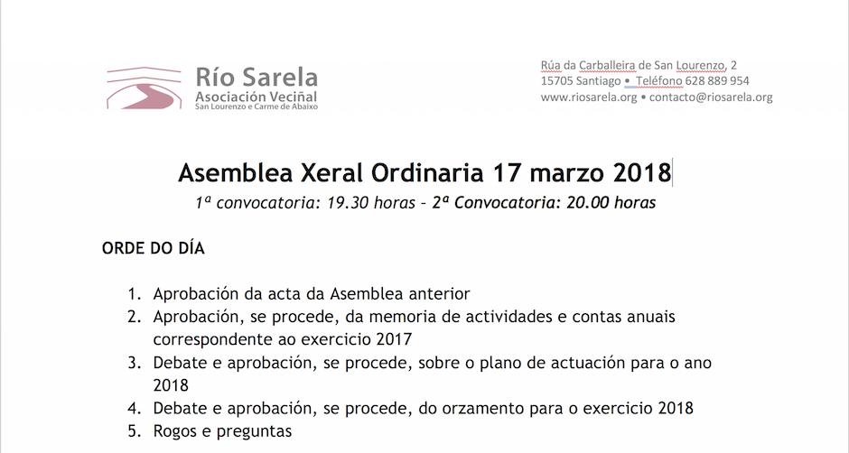 O 17 de marzo celebraremos Asamblea Xeral Ordinaria da Asociación Río Sarela